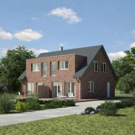 Klinkerfassade Doppelhaus