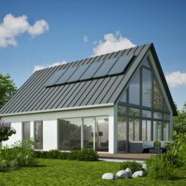 Haus mit verglastem Giebel