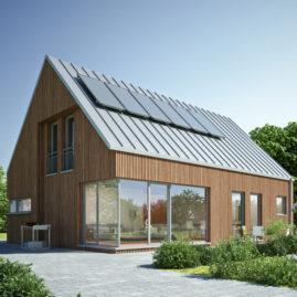 Fassade aus Holz und Glas